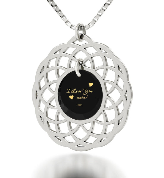 """Girlfriend Birthday Idea,""I Love You More"" Engraved On Black CZ, Silver Jewelry, Necklace for Women"""