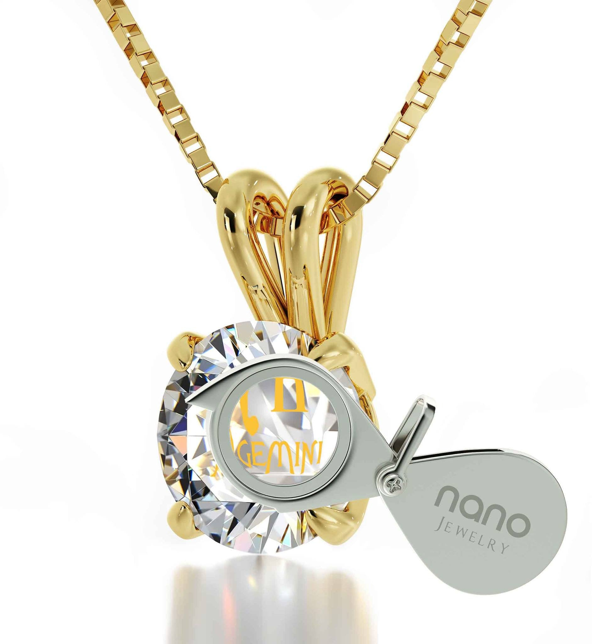 """GirlfriendBirthdayIdeas:GeminiNecklace,14kGoldJewelry for Women, ValentineGifts for BestFriend by Nano"""