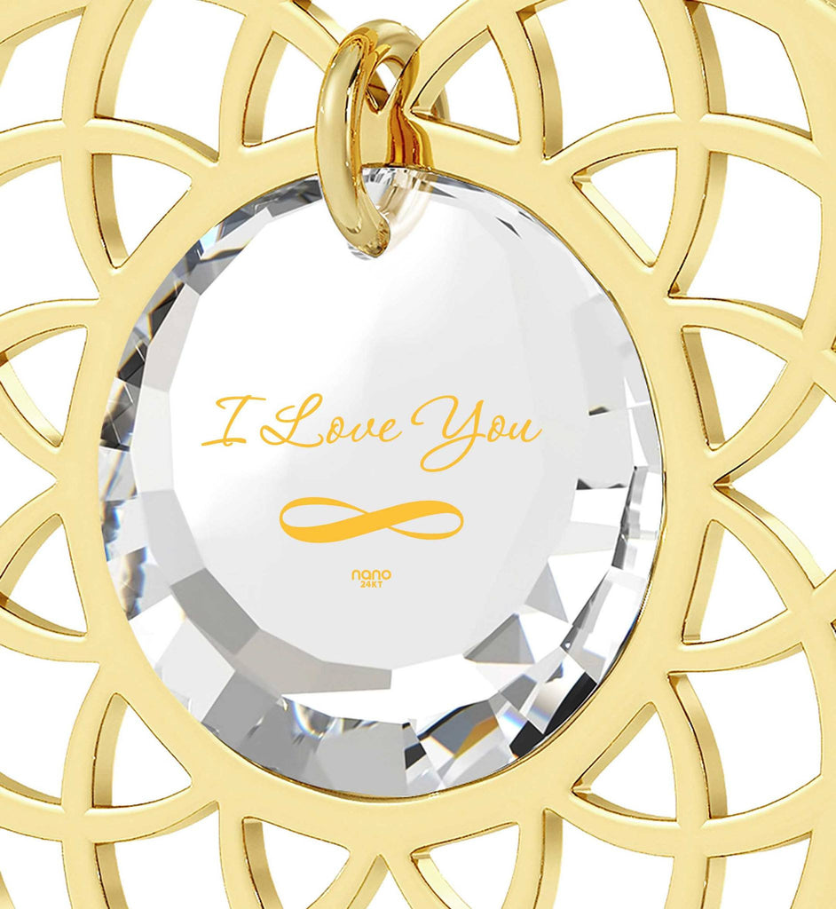 "Best Presents for Girlfriend, ""I Love You Infinity"", Mandala Necklace, Best Gift for Wife Birthday, Nano Jewelry"
