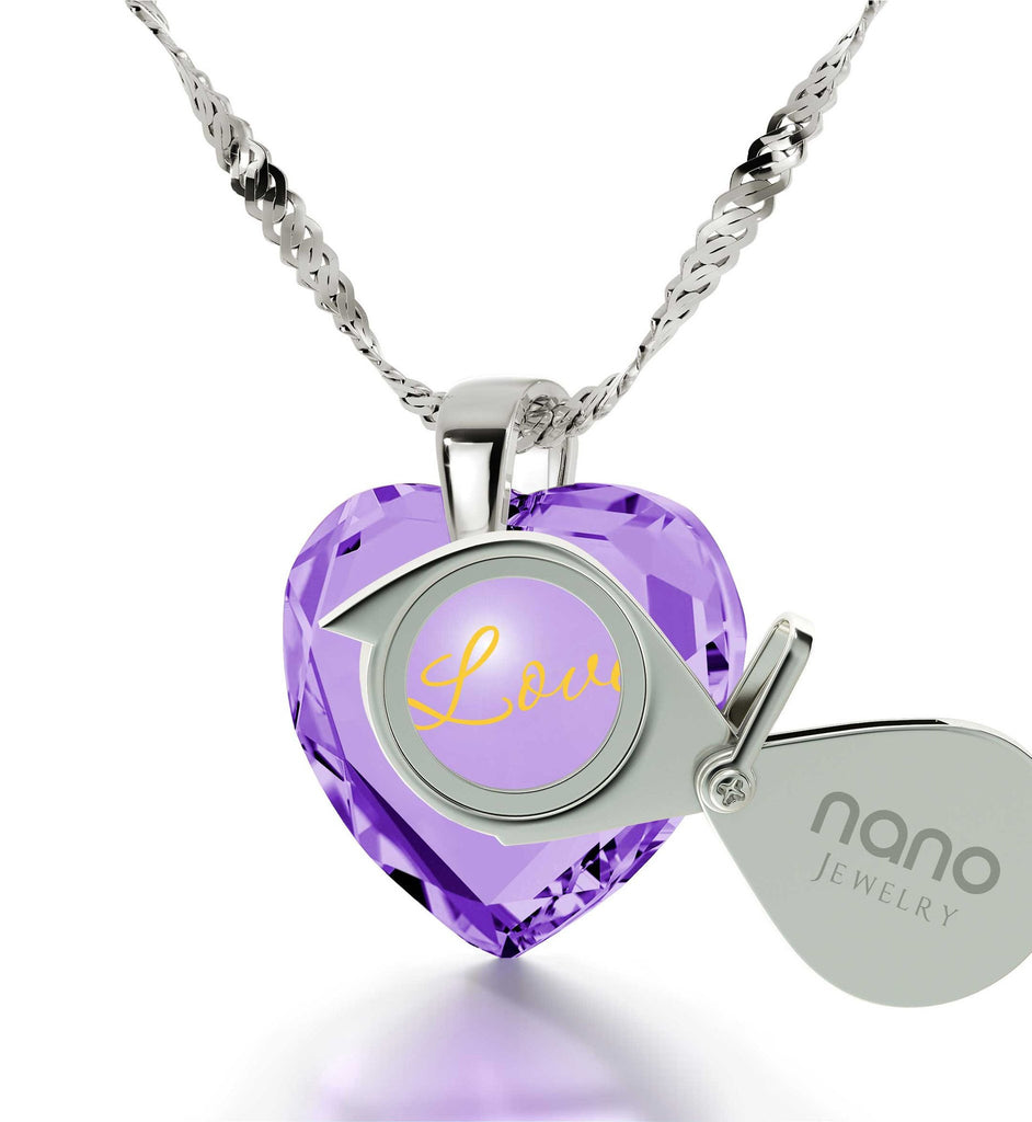"Girlfriend Birthday Ideas, ""I Love You"" Sterling Silver Necklace, Awesome Valentines Day Gifts for Her, by Nano Jewelry"