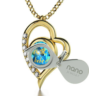 "Good Presents for Girlfriend,""TeAmo"",CZ Aquamarine Stone, Xmas Ideas for Her by Nano Jewelry"