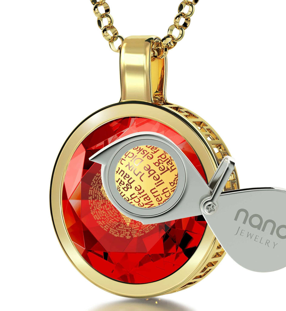 "Valentines Day Jewelry Gift: ""I Love You"" in All Languages - Round - Silver Gold Plated - Nano Jewelry"