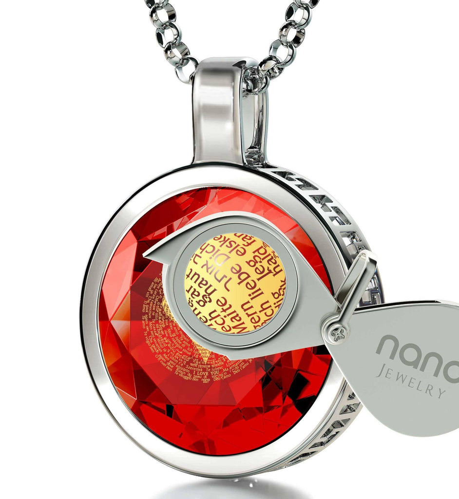 "Cute Valentines Gifts for Her: ""I Love You"" in 120 Languages - Round - Nano Jewelry"