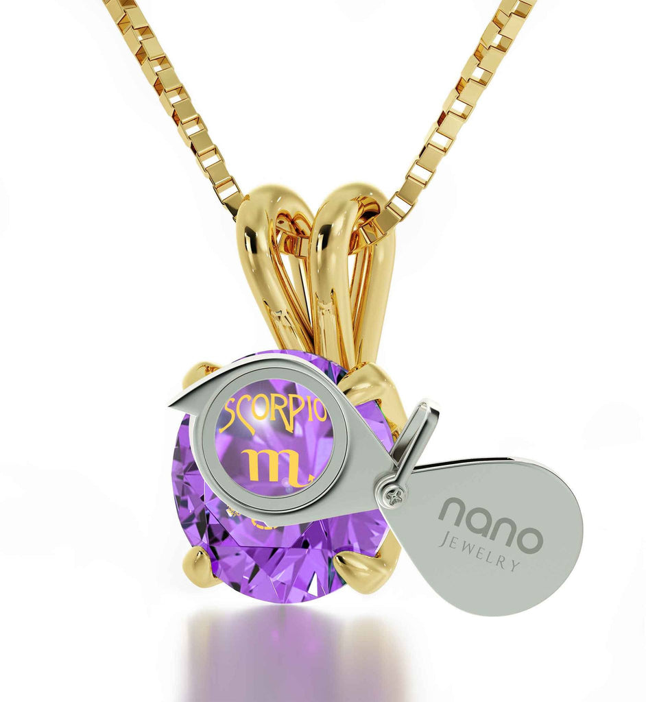 """Birthday Present for Sister, Scorpio Gold Necklace Chain With Purple Pendant, Fun Gifts for Women"""