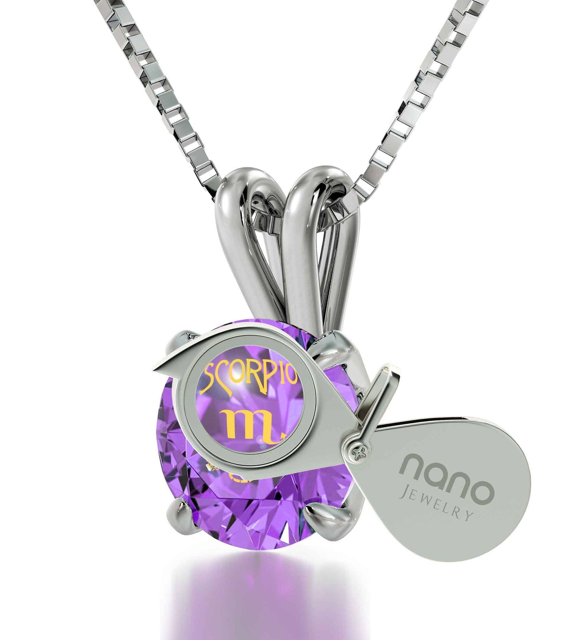 """Birthday Present for Sister, Scorpio Sterling Silver Necklace Chain With Purple Pendant, Fun Gifts for Women"""