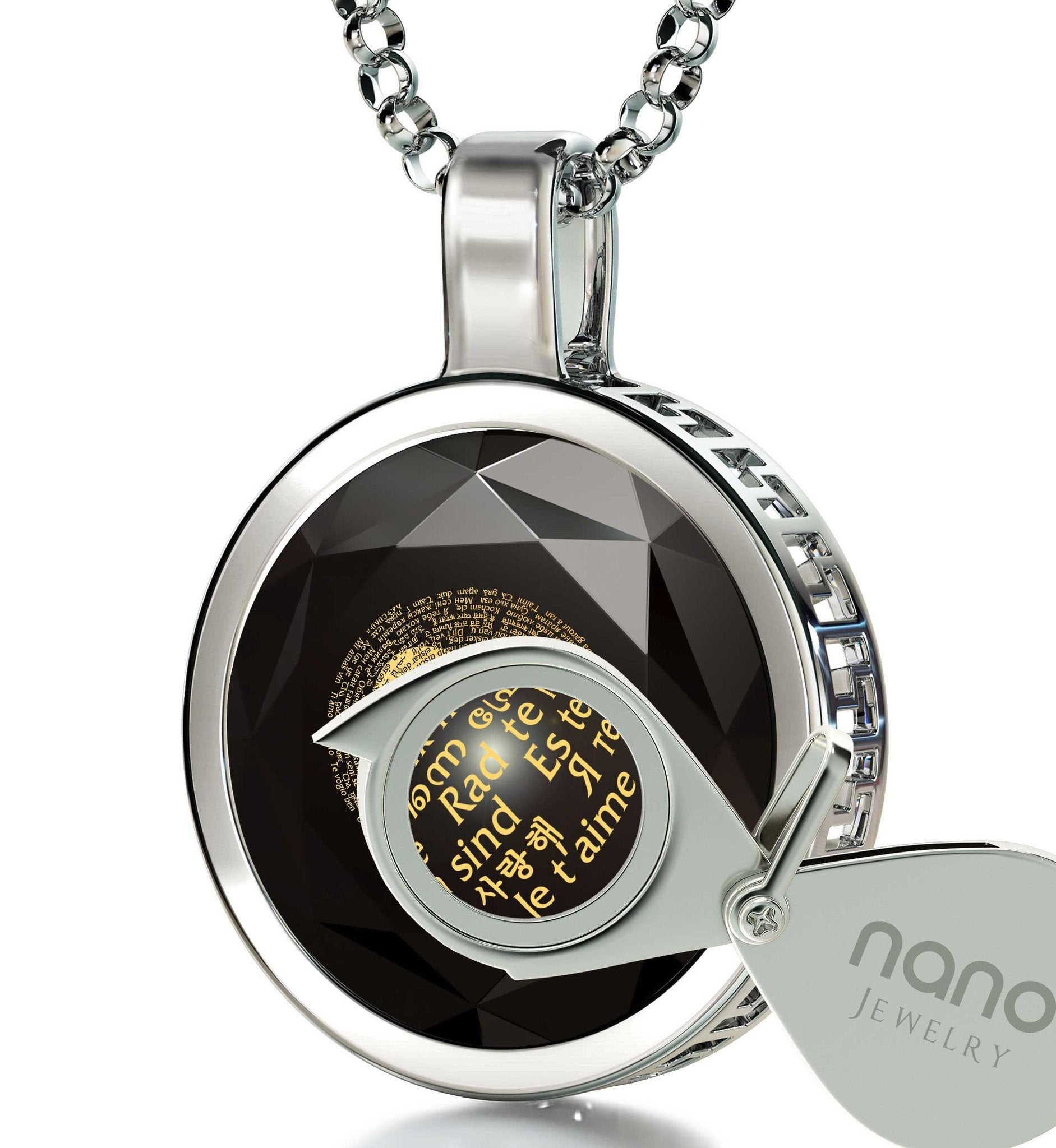 "Valentines Gifts for Her Romantic: ""I Love You"" in 120 Languages - Round - Nano Jewelry"