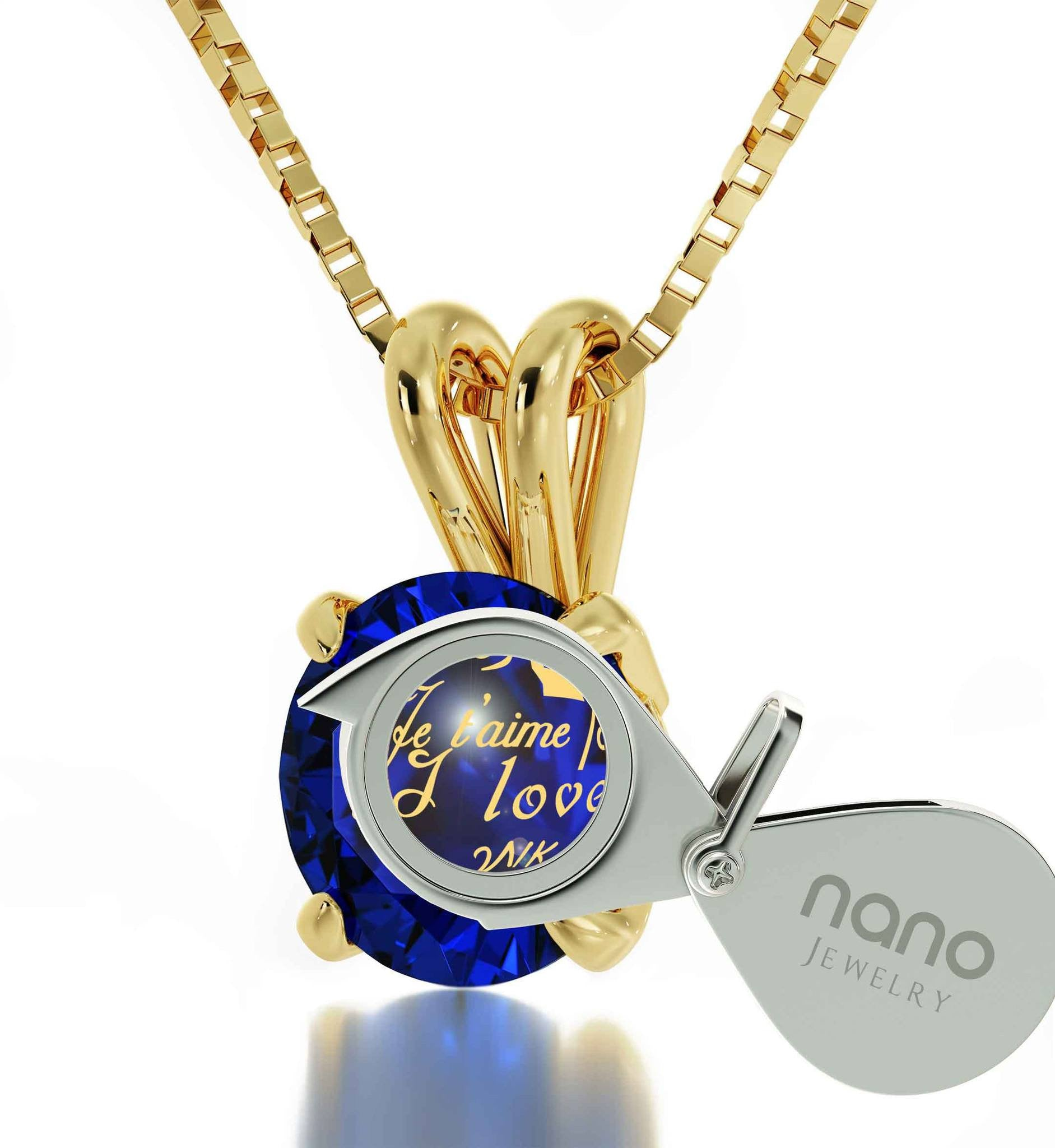 "Cute Valentines Day Gifts for Girlfriend, ""I Love You"" Engraved in 24k, CZ Blue Stone, Gold Pendants for Womens"