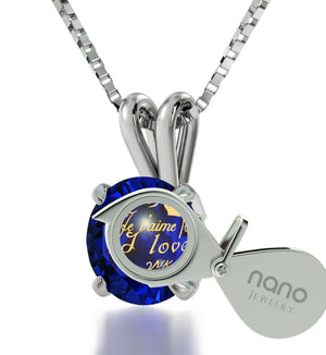 "Good Presents for Girlfriend, ""I Love You"" in 12 Languages, Blue Stone Jewellery, Gift for Wife Anniversary"