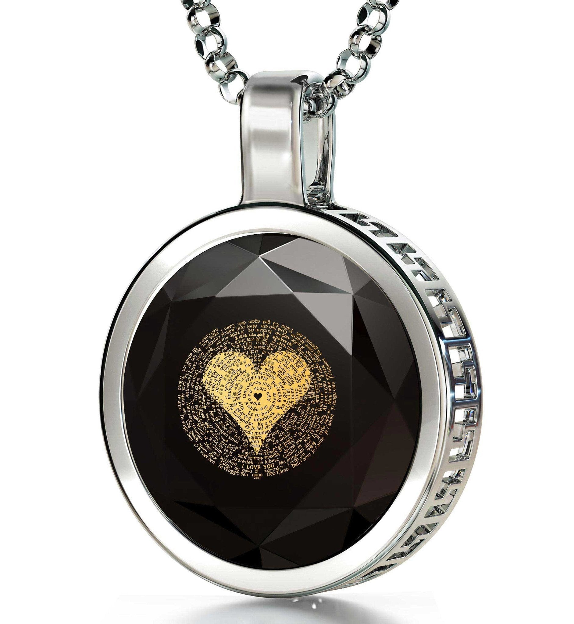 "Apology Gifts For Her: ""I Love You"" in 120 Languages  - Round Plain - 14K Gold - Nano Jewelry"