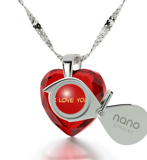 """Good Valentines Day Gifts for Girlfriend, Sterling Silver Pendants for Womens, CZ Red Heart, Presents for Her Christmas"""