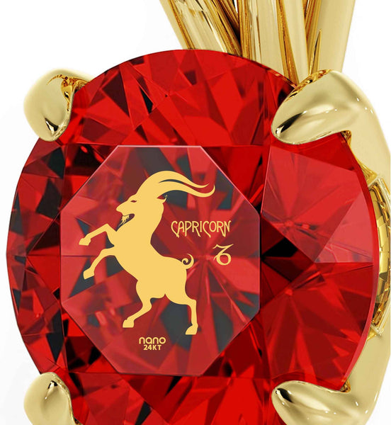 """Wife Birthday Ideas, Capricorn Birthstone Gifts With Ruby Pendants, Cool Gifts for Girls, by Nano Jewelry """