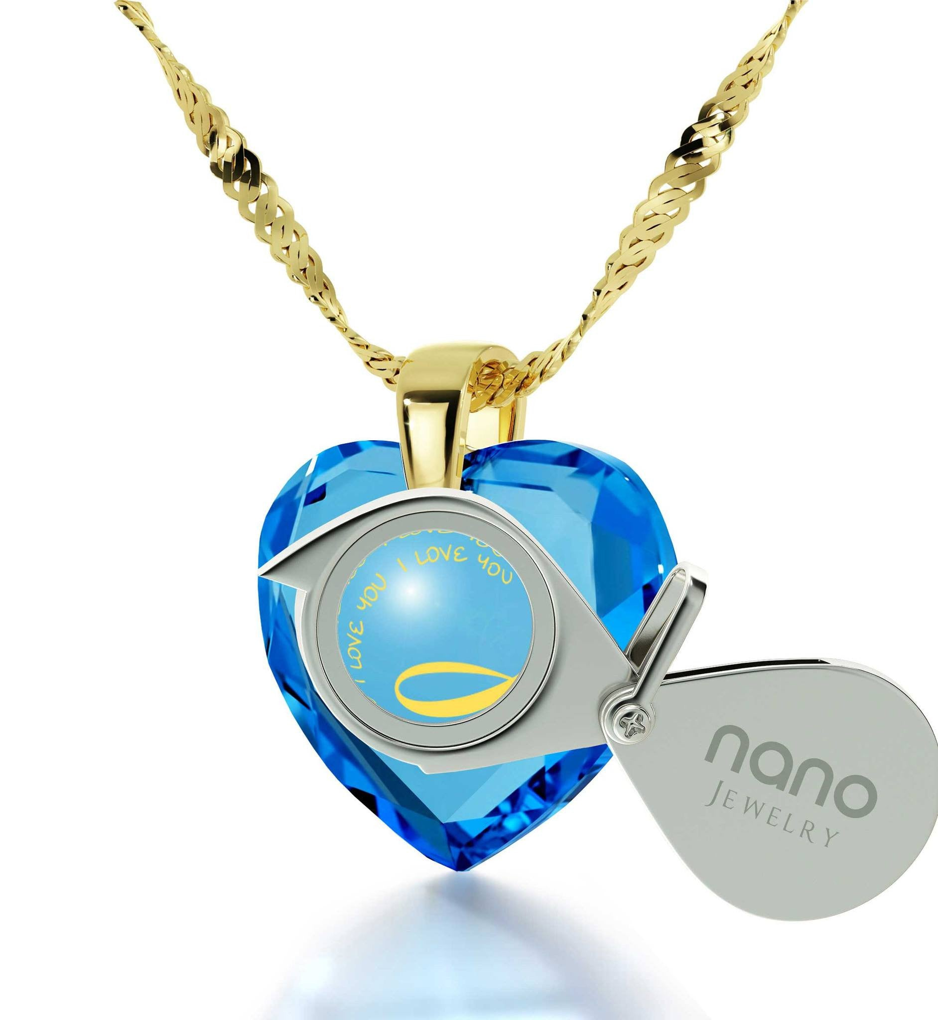"Good Anniversary Gifts for Her, Gold Pendants for Women, ""I Love You"" Necklace, Wife Birthday Present by Nano Jewelry"