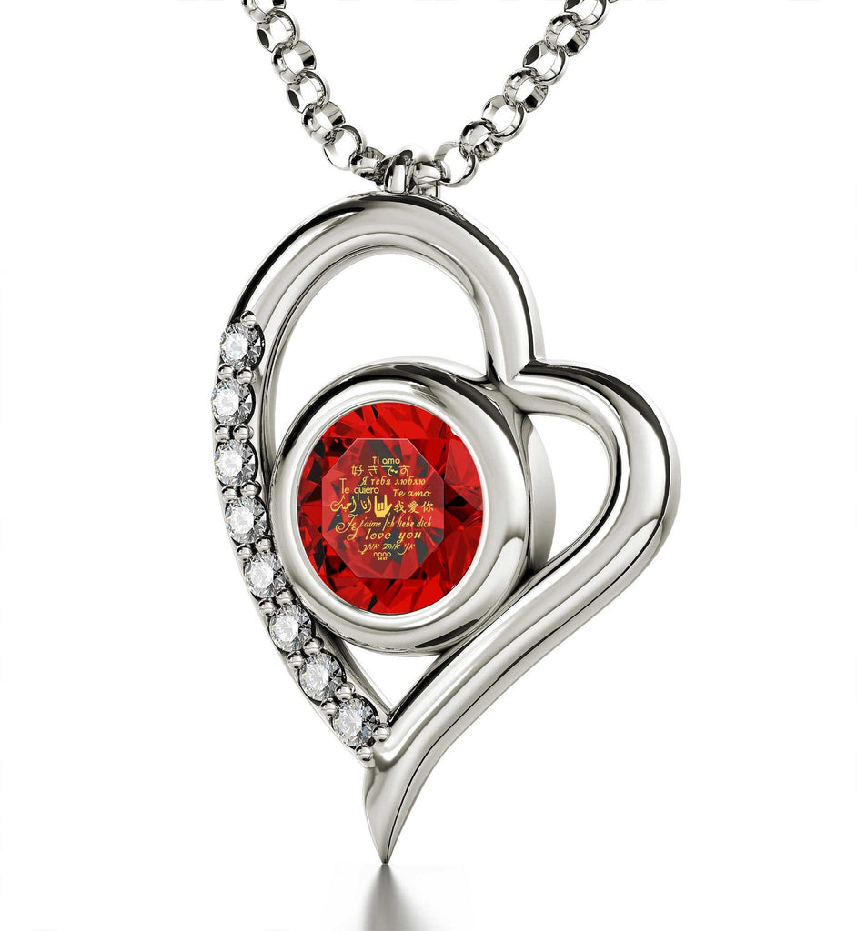 "Christmas Ideas for Girlfriend: ""Ti Amo"", CZ Red Stone, Romantic Valentines Gifts for Her by Nano Jewelry"