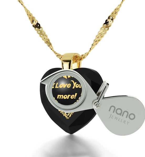"""Good Anniversary Gifts for Her,""I Love You More"" 24k Engraved Jewelry, Birthday Ideas for Girlfriend, Nano """