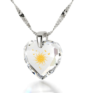 """Birthday Surprises for Her,Womens 14k White Gold Necklace, CZ White Heart, Cute Christmas Gifts for Girlfriend by Nano Jewelry"""