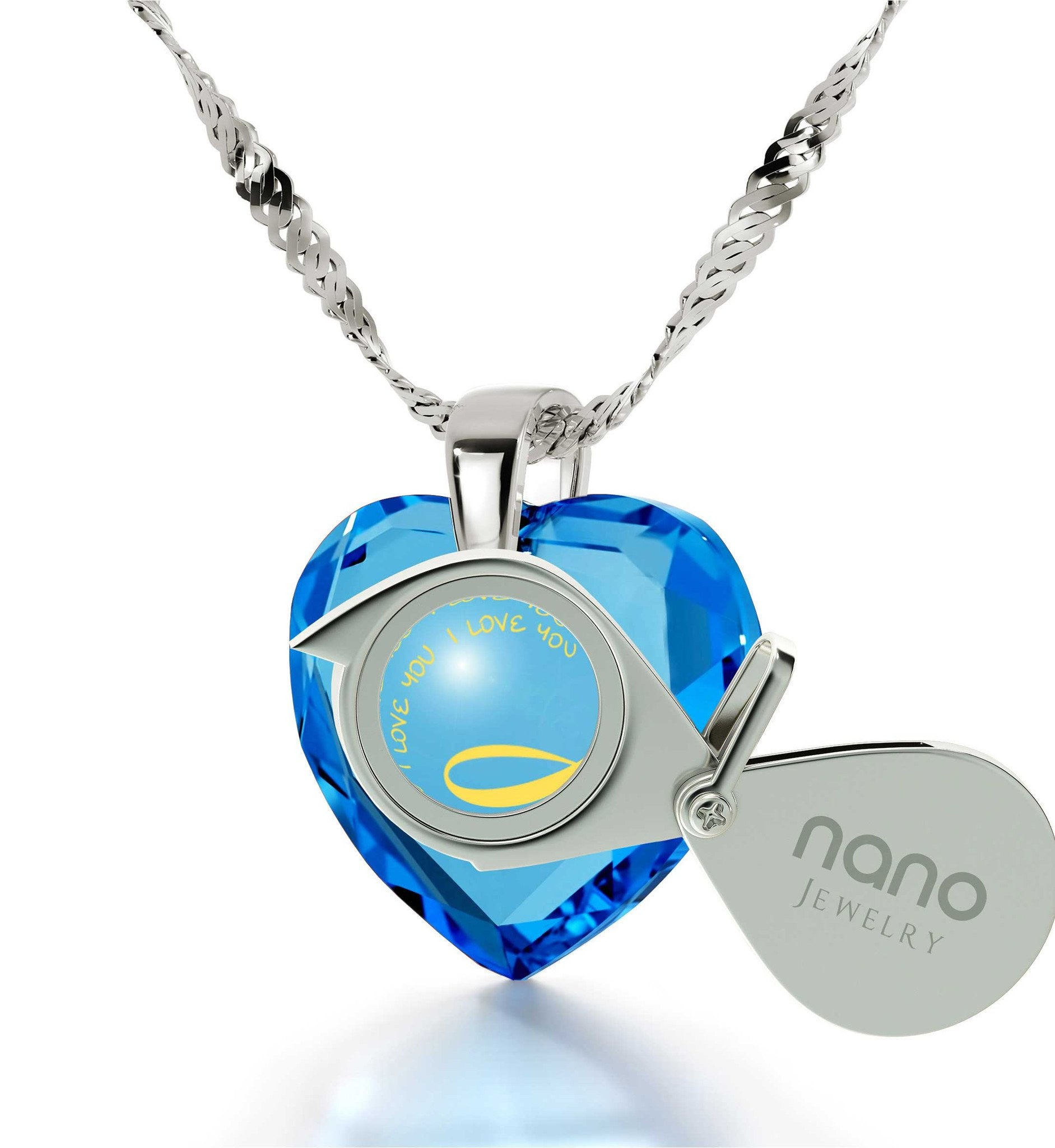 "Good Anniversary Gifts for Her,White Gold Pendants for Women, ""I Love You"" Necklace, Wife Birthday Present by Nano Jewelry"