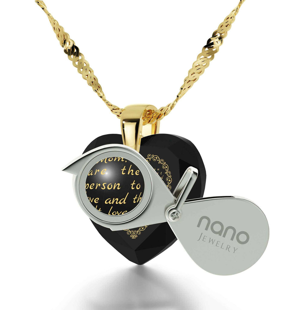Good Christmas Gift for Mom, Mother's Necklace with CZ, Heart Shaped Stone, By Nano Jewelry
