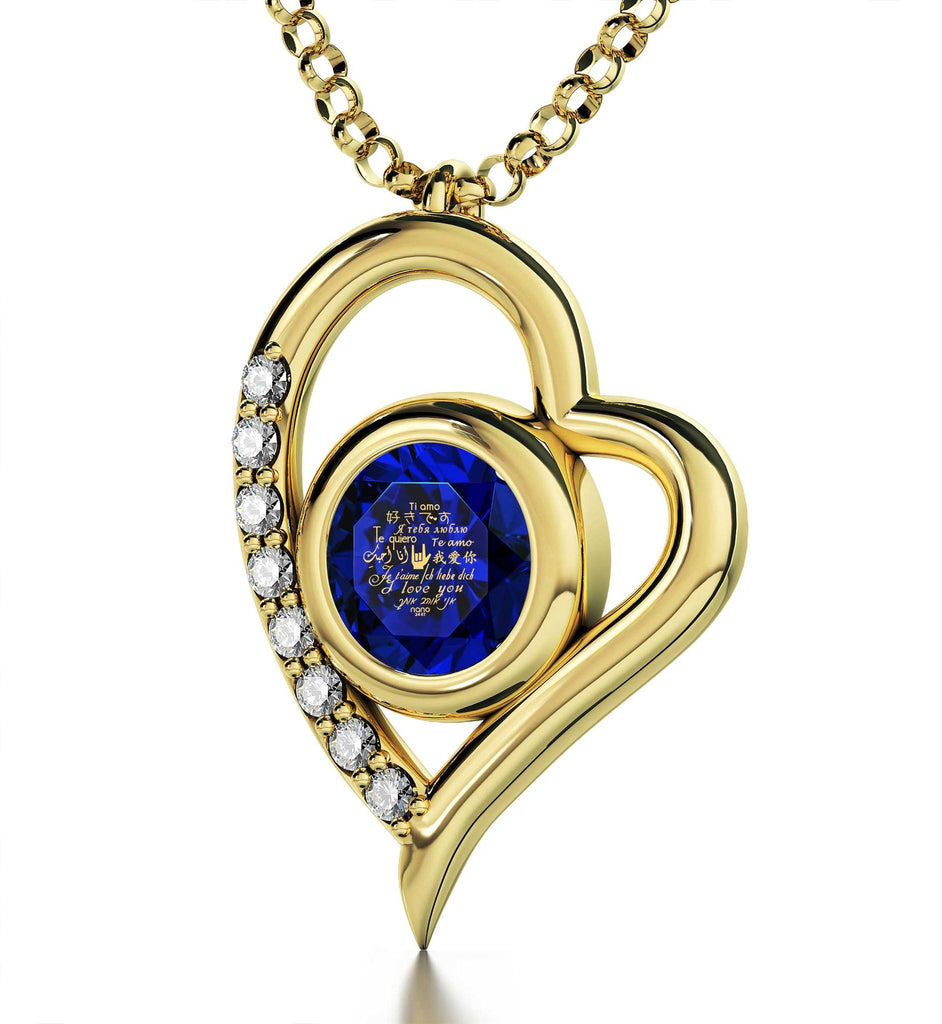 "Good Christmas Gifts for Girlfriend,""I Love You""in 12 Languages, Blue Stone Jewelry, Wife Birthday Ideas"