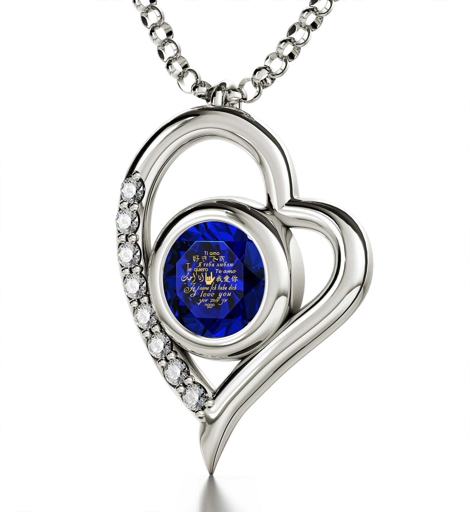 "Good Christmas Gifts for Girlfriend, ""I Love You"" in 12 Languages, Blue Stone Jewelry, Wife Birthday Ideas"