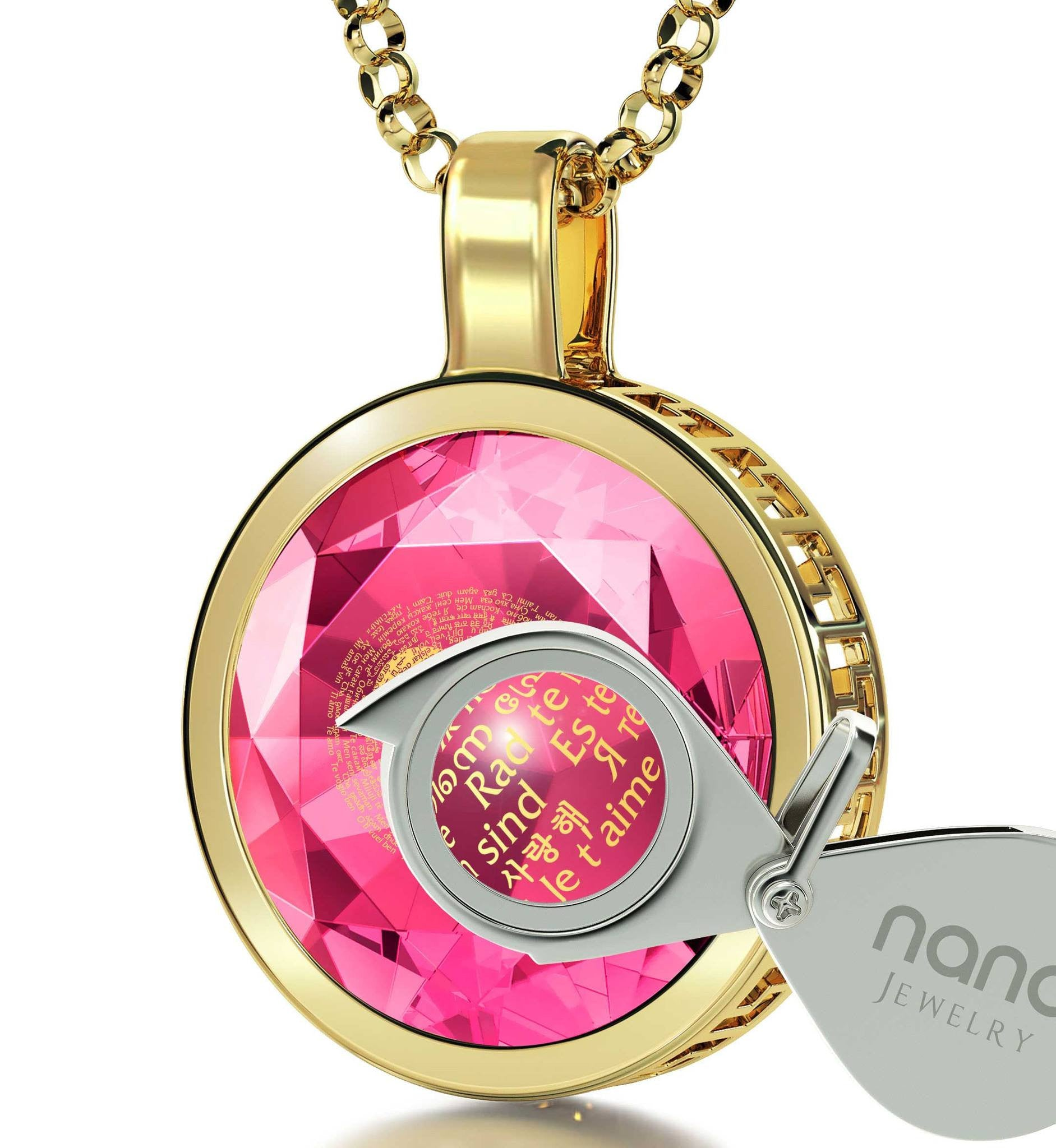 "Good Christmas Gifts for Girlfriend: ""I Love You"" in French, Women's 14k Gold Jewelry, Birthday Ideas for Wife by Nano"