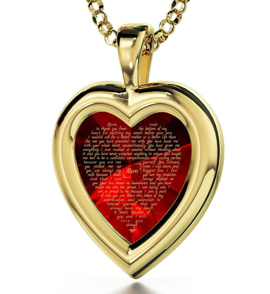 Good Christmas Gifts for Mom: Necklaces with Meaning, CZ Red Heart, Presents for Mothers by Nano Jewelry