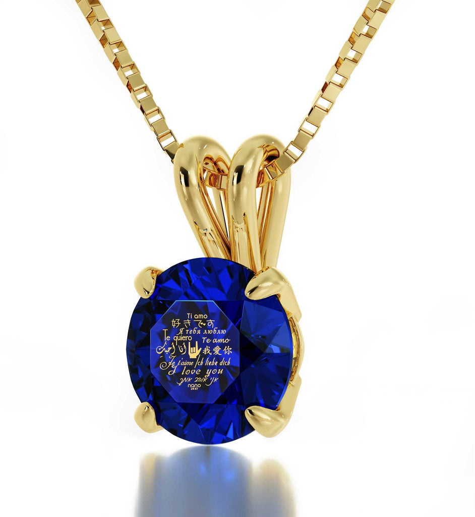 "Good Christmas Gifts for Wife, ""I Love You"" Engraved in 24k, CZ Blue Stone, What to Get Girlfriend for Birthday"