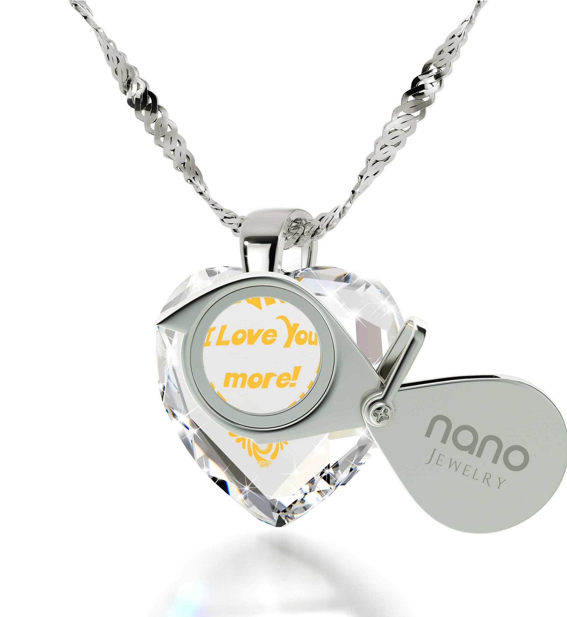 """Good Christmas Presents for Girlfriend, 24k Engraved Sterling Silver Necklace, Valentines Day Ideas for Her, Nano Jewelry"""