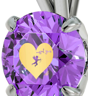 Good Christmas Presents for Girlfriend, Cute Necklace with Purple CZ Charm, Mother's Day Gifts for Wife