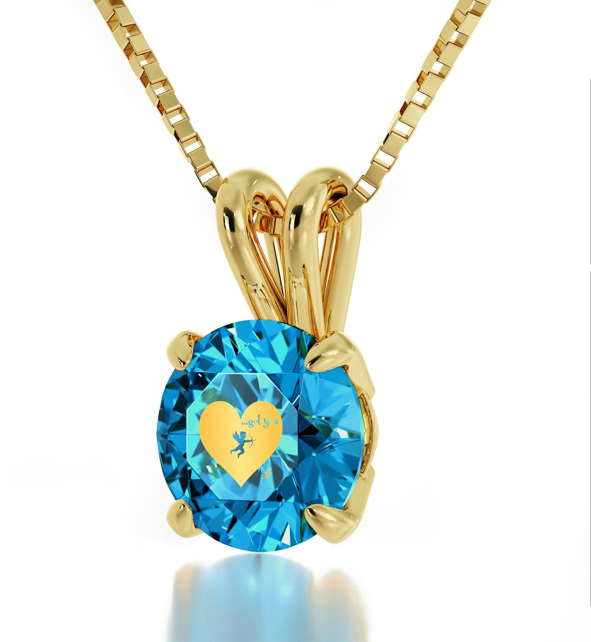 """What to Get Girlfriend for Christmas, Unique Necklace with ""...Got You"" Blue Charm, Mother's Day Gifts for Wife"""