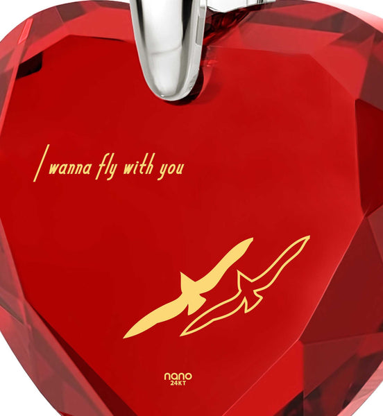 """Best Gift for Girlfriend, ""I Wanna Fly with You"" Engraved In 24k Gold, Garnet Red CZ Jewelry, the Love Necklace"""