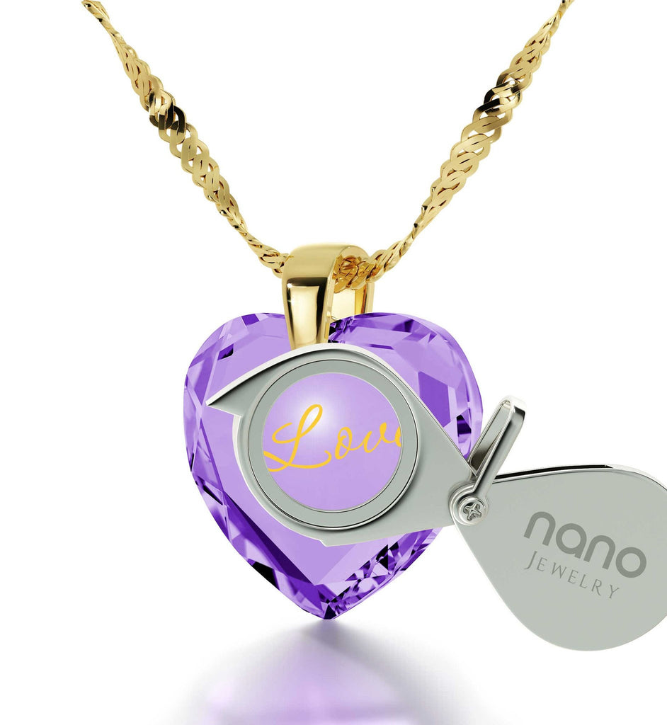 Good Christmas Presents for Mom, 14k Gold Heart Stone Necklace, Birthday Ideas for Wife, by Nano Jewelry