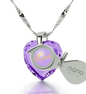 Good Christmas Presents for Mom, 14k White Gold Heart Stone Necklace, Birthday Ideas for Wife, by Nano Jewelry