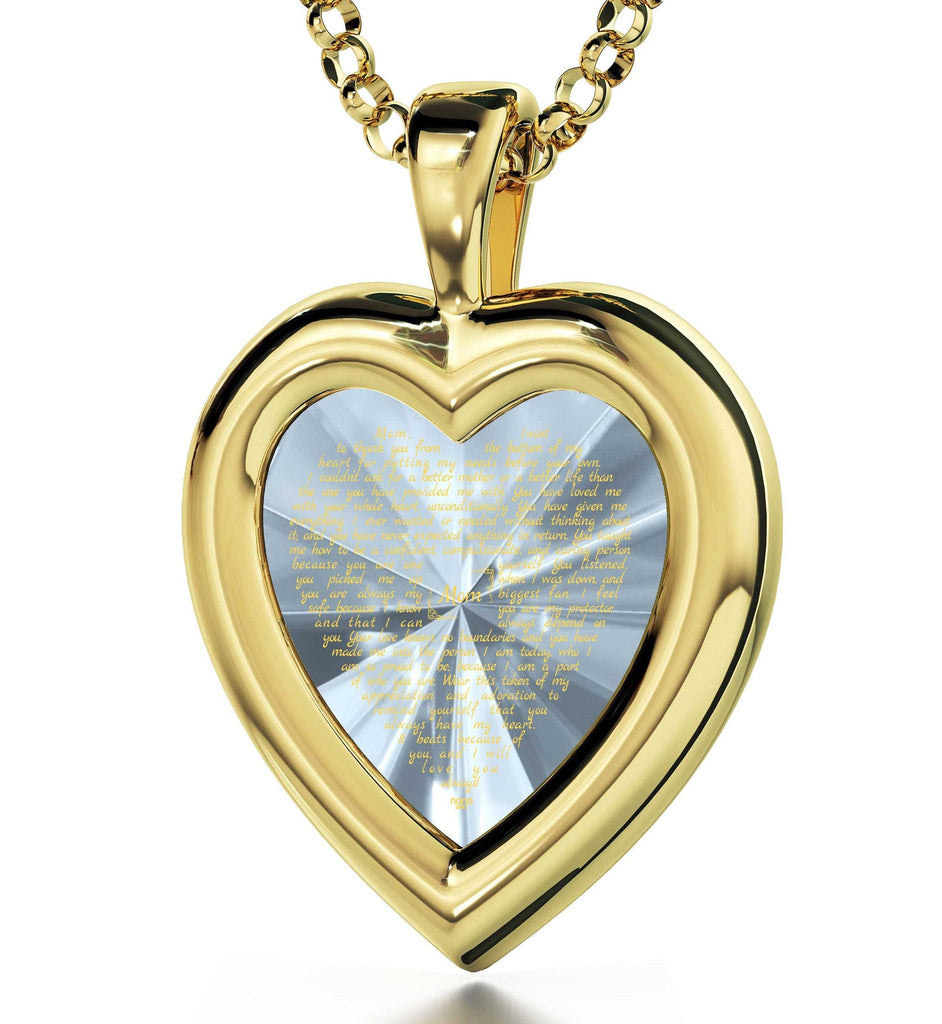 Good Christmas Presents for Mom: Engraved Necklaces, CZ White Heart, Birthday Gift for Mother by Nano Jewelry