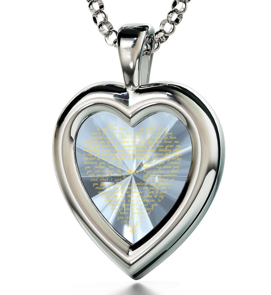Good Christmas Presents for Mom, Engraved Necklaces, CZ White Heart, Birthday Gift for Mother by Nano Jewelry