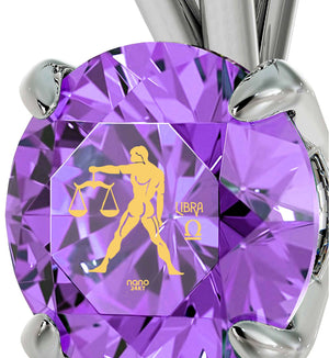 """Good Christmas Presents for Mom, Libra Characteristics Engraved on Purple Jewelry, Special Gifts for Sisters, by Nano """