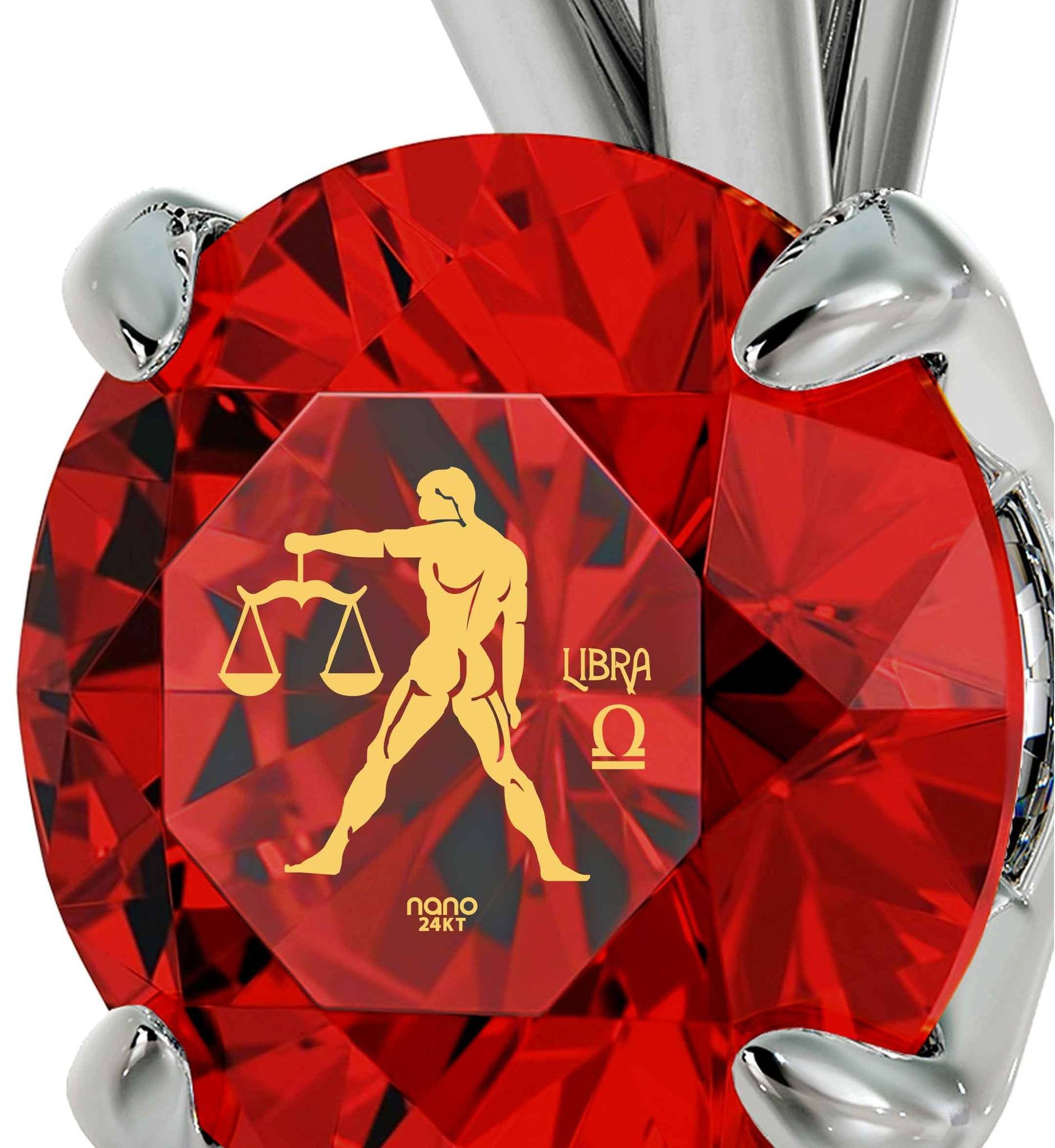 """Birthday Present  for Best Friend, Libra Sign Engraved on Ruby Jewelry, Popular Gifts for Teens, by Nano """