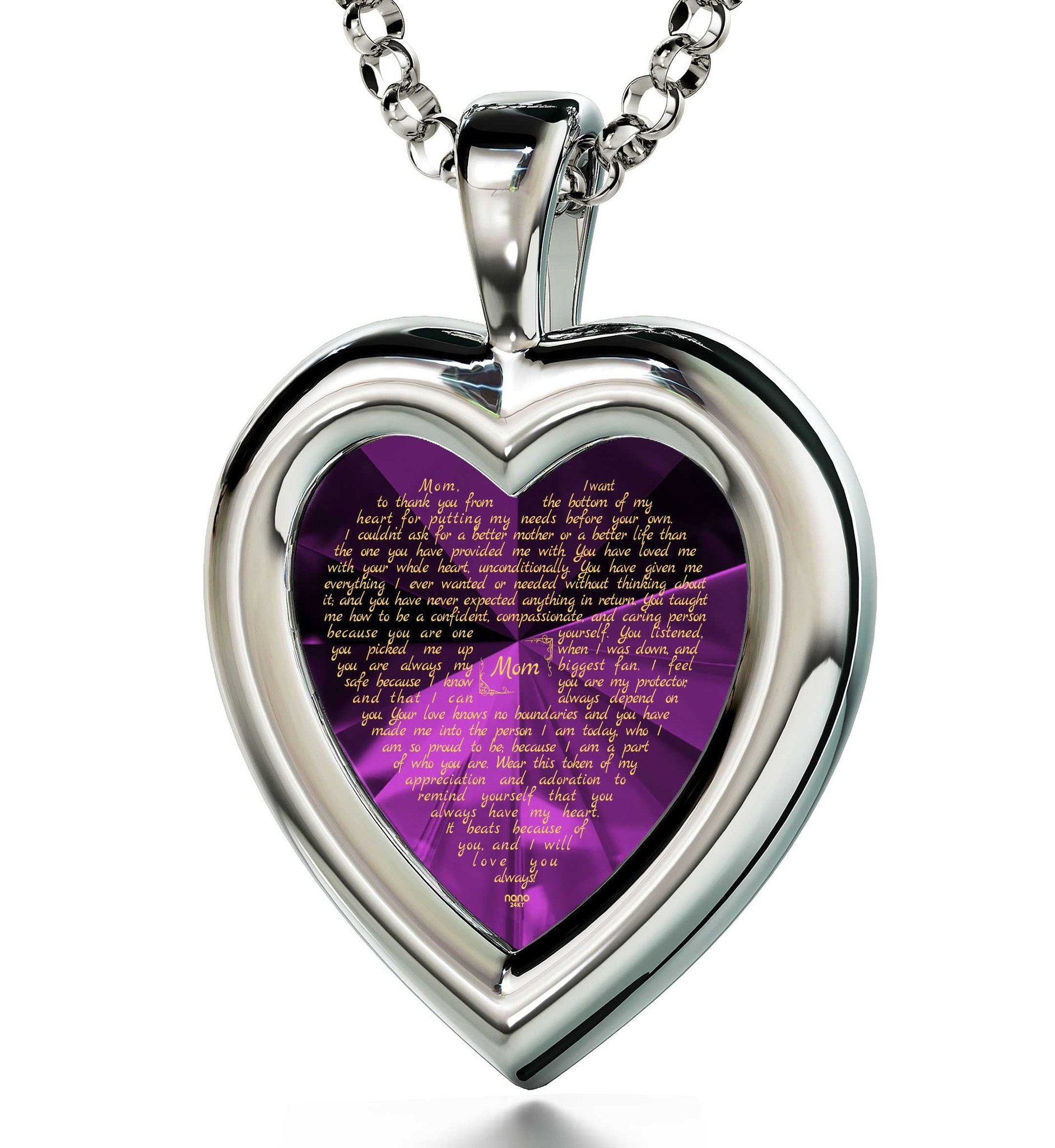Good Christmas Presents For Mom Meaningful Necklaces CZ Purple Heart Birthday Gift