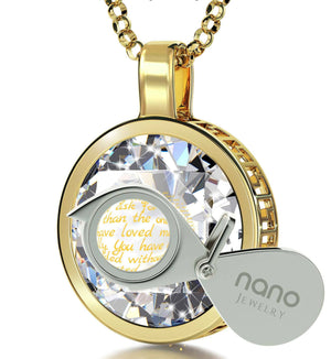 Good Christmas Presents for Mom, Thank You Mother in 24k Gold on Crystal Stone, Best Gift For Mother's Day, by Nano Jewelry