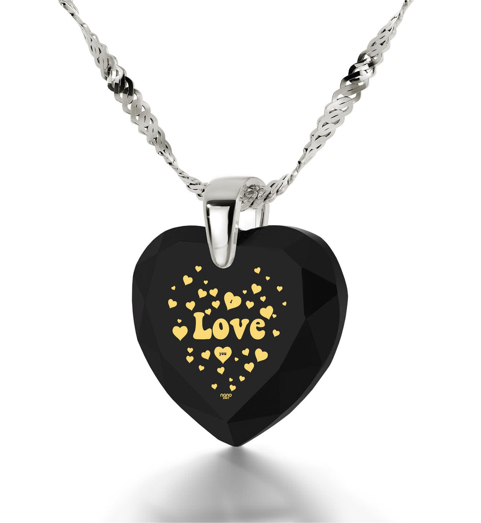 "Good Christmas Presents,""I Love You"" Engraved In 24k Gold, Heart Jewelry, Girlfriend Birthday Gift Ideas"