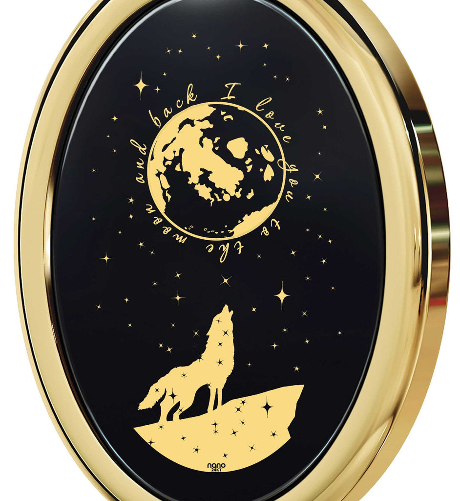 "Valentines Day Presents,""I Love You to the Moon and Back"" Engraved In 24k, 14k White Gold, Unique Gift for Women"