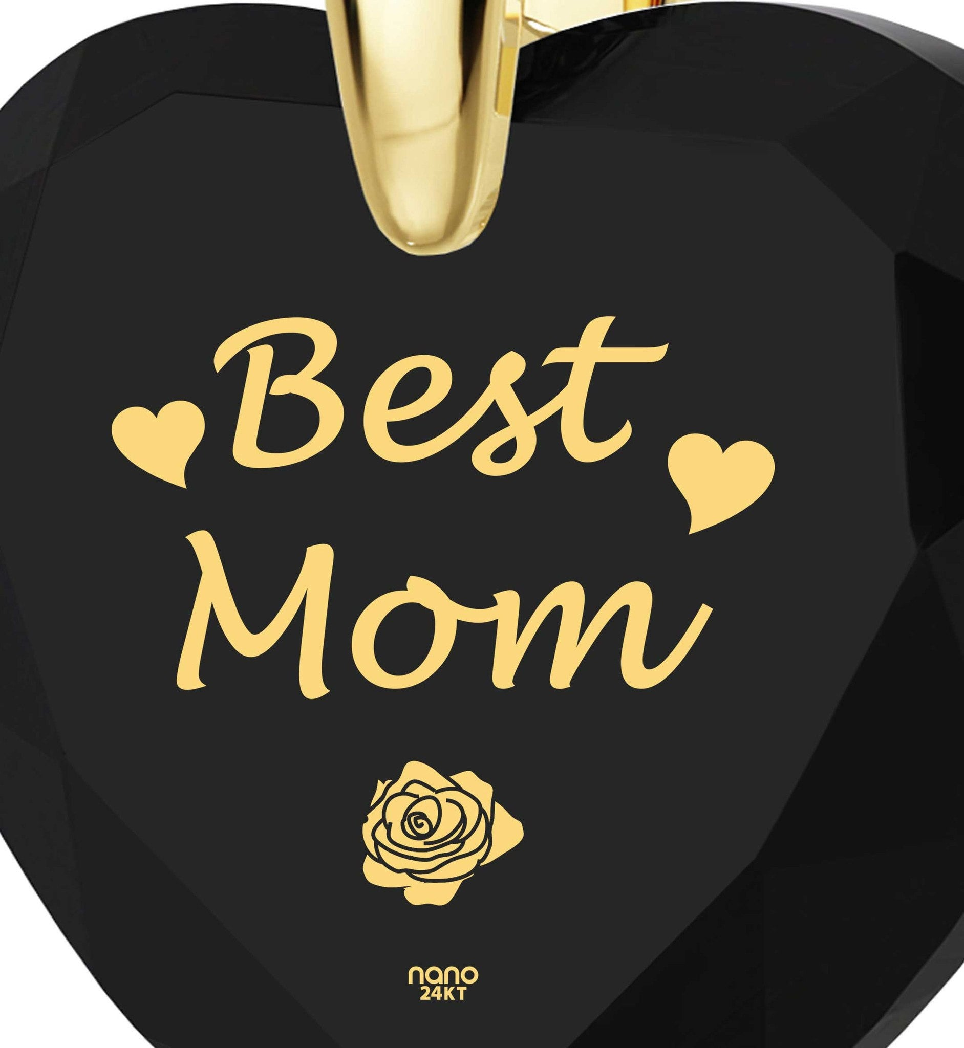 "Good Christmas Presents for Mom, ""Best Mom"" Onyx Jewelry, Best Gift for Mother's Day, by Nano"