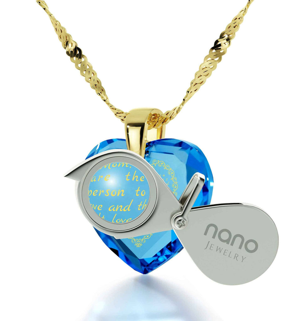 Good Gift for Mom, Mothers Necklace with CZ Heart Shaped Stone, Cool Presents for Christmas, by Nano Jewelry