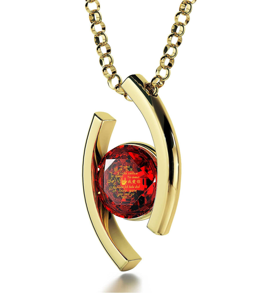 """Best Christmas Present for Girlfriend, ""TeQuiero"", Red Stone Jewelry, Awesome Valentines Day Gifts for Her"""