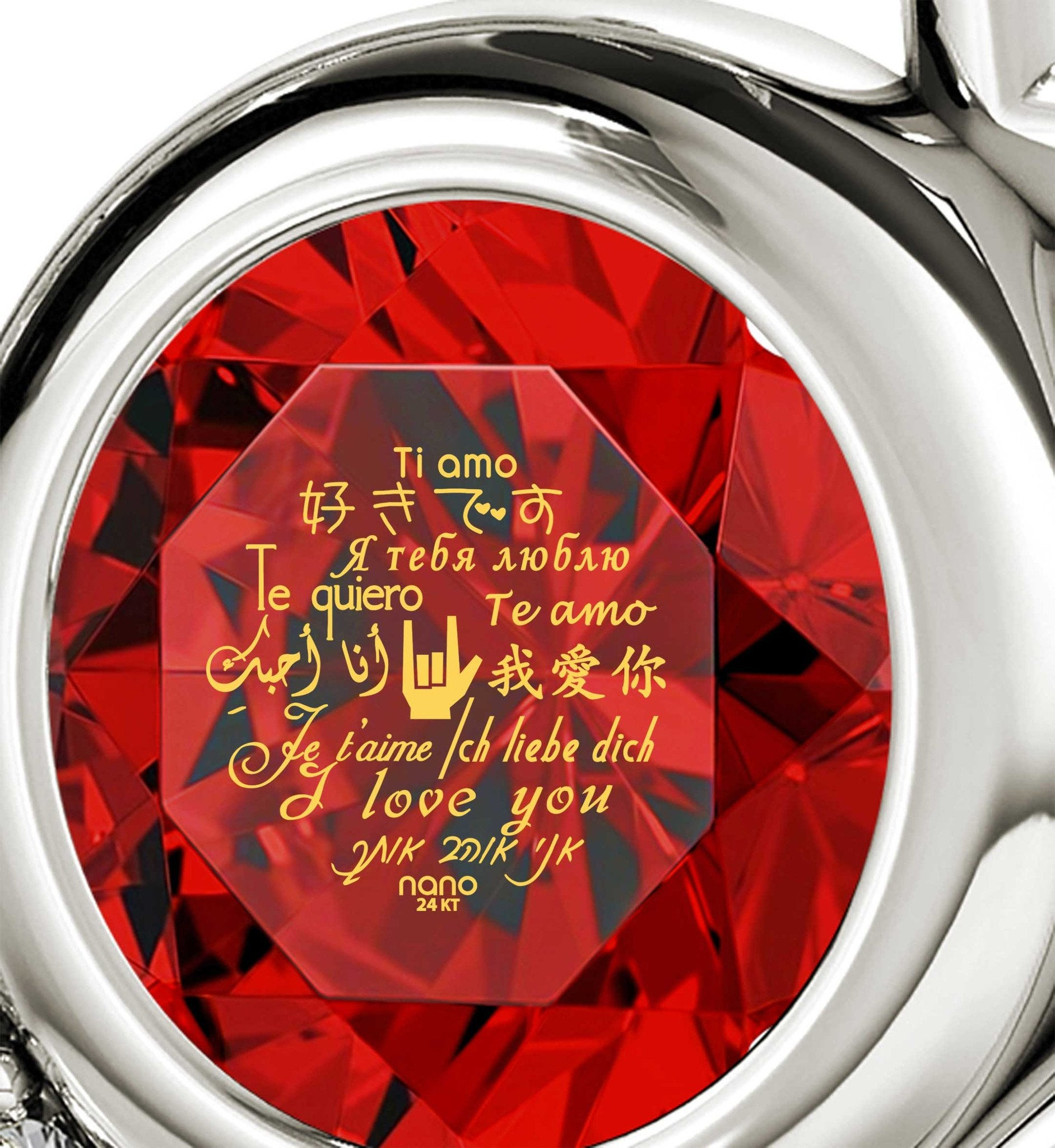 "Good Gifts for Girlfriend, ""I Love You"" in 12 Languages, Red Stone Jewelry, Xmas Ideas for Her"
