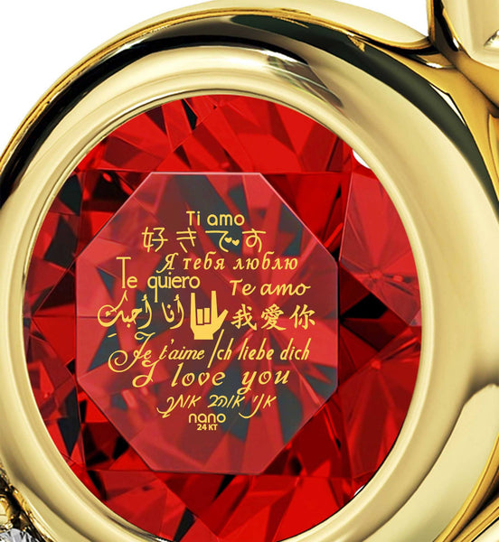 "Good Gifts for Girlfriend,""I Love You""in 12 Languages, Red Stone Jewelry, Xmas Ideas for Her"