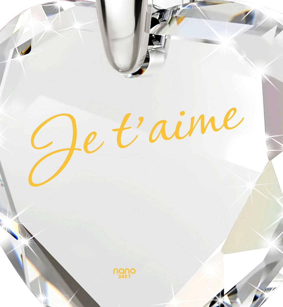 "Good Presents for Girlfriend, 14k White Gold Chain,""Je T'aime"", Romantic Ideas for Valentines Day, Nano Jewelry"