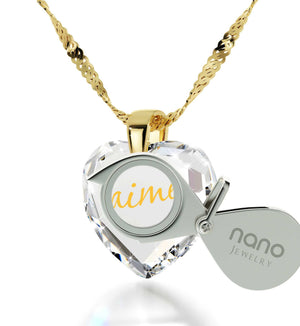 "Good Presents for Girlfriend, 14kt Gold Chain,""Je T'aime"", Romantic Ideas for Valentines Day, Nano Jewelry"