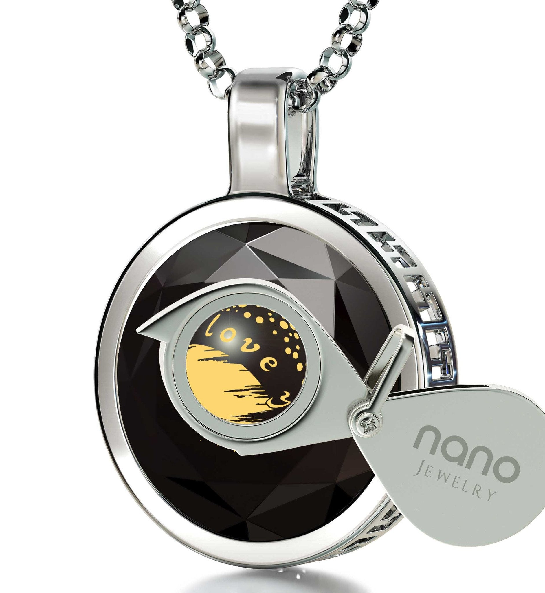 """Gift Ideas for Girlfriend, ""I Love You to the Moon and Back"" Necklace, 24k Engraving Christmas, Nano Jewelry"""