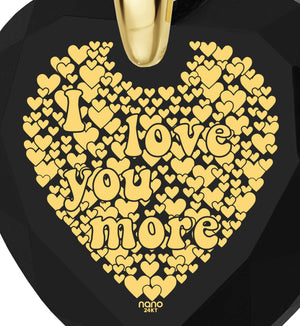 """Words of Affirmation Love Language,""I Love You More"", 24k Engraved, Great Gifts for Girlfriend, Nano Jewelry"""
