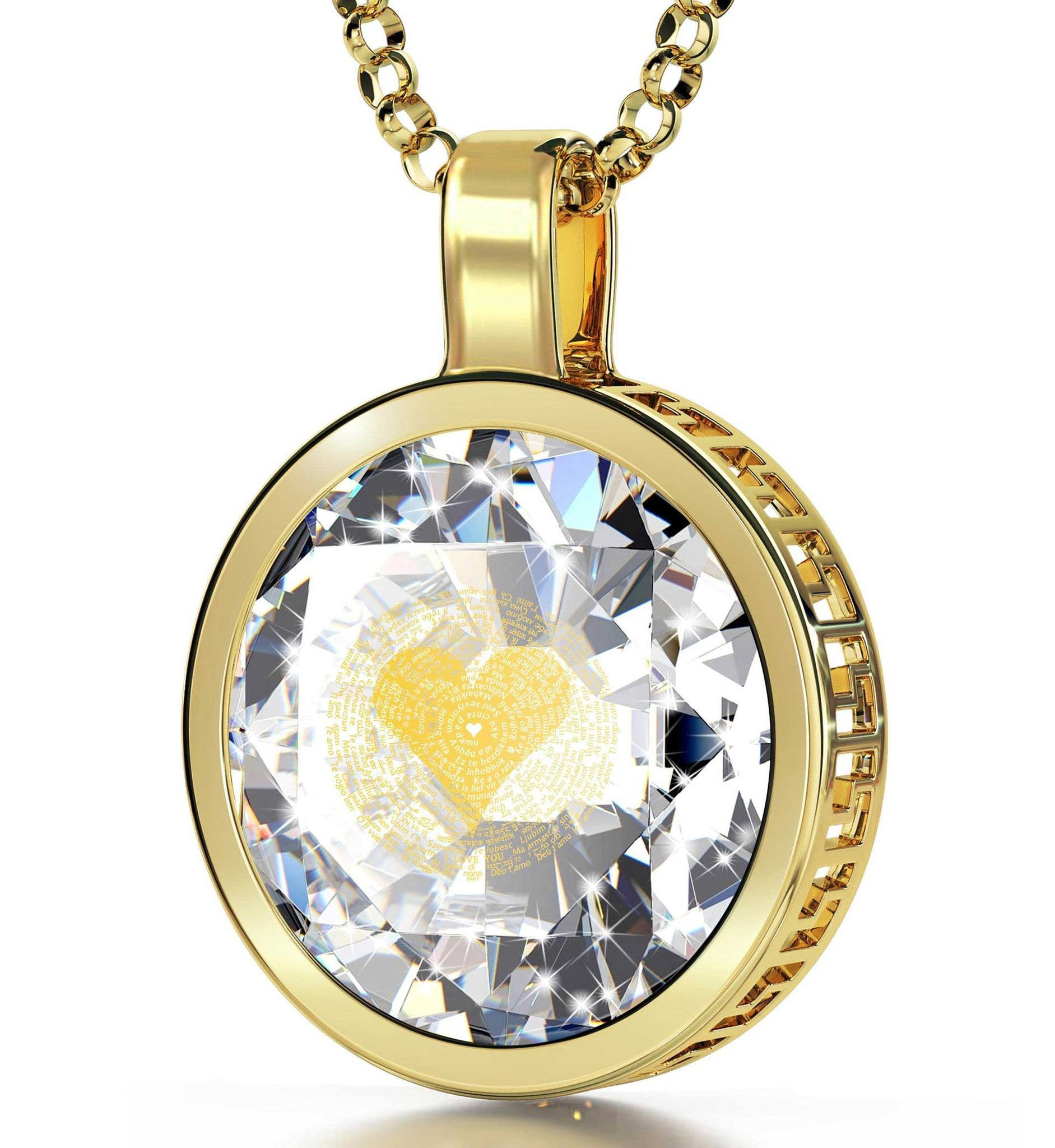 "Gift For Wife Anniversary: ""I Love You"" in 120 Languages  - Silver Gold Plated - 18mm Round Pendant - Nano Jewelry"